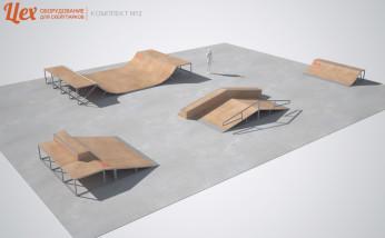 Минирампа и скейт-парк деревянный