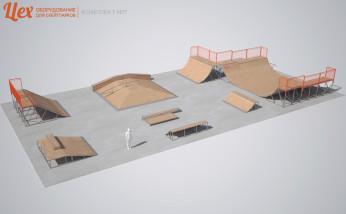 Скейт-парк разборный с минирампой