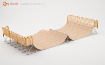 Разборная, металлическая, деревянная минирампа со спайном для скейтбординга и BMX