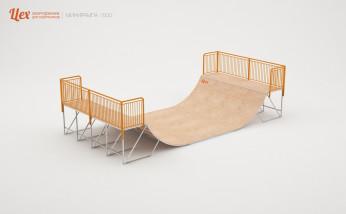Мини-рампа для скейтпарка, разборная, деревянная