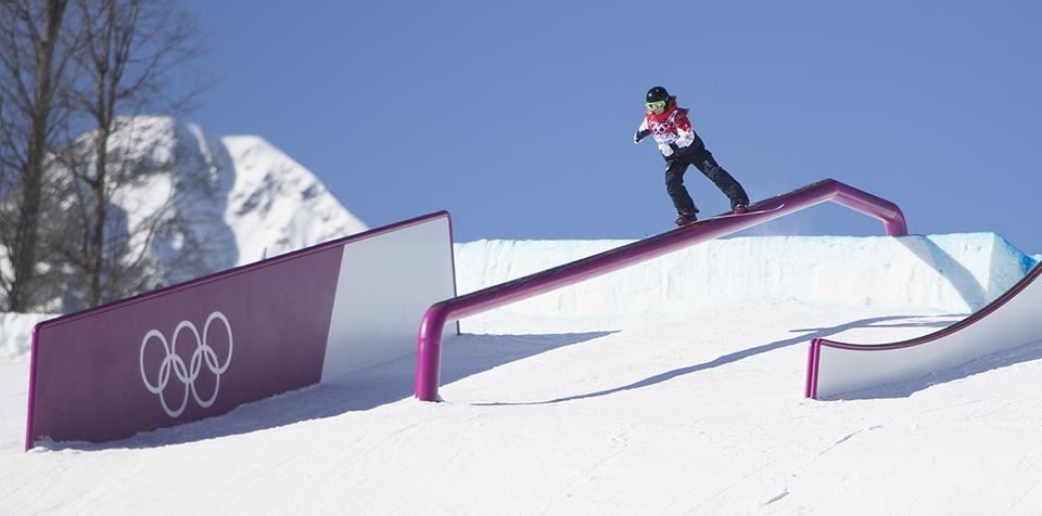 Бескаркасные рейлы в олимпийском слоуп (slopestyle) парке для джибинга